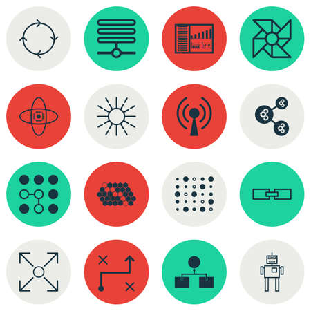 Set Of 16 Artificial Intelligence Icons. Includes Cyborg, Hive Pattern, Controlling Board And Other Symbols. Beautiful Design Elements. Illustration