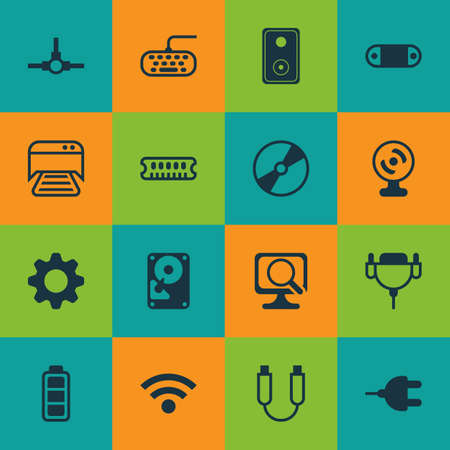 Set Of 16 Computer Hardware Icons. Includes Wireless, Audio Device, Vga Cord And Other Symbols. Beautiful Design Elements.