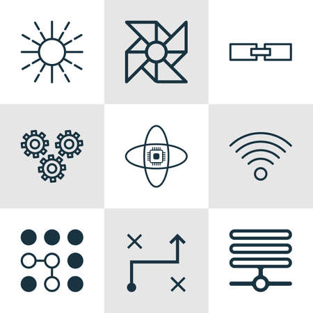 associative: Set Of 9 Robotics Icons. Includes Atomic Cpu, Solution, Related Information And Other Symbols. Beautiful Design Elements.