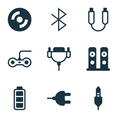 Set Of 9 Computer Hardware Icons. Includes Joystick, Wireless Connection, Blank Cd And Other Symbols. Beautiful Design Elements.