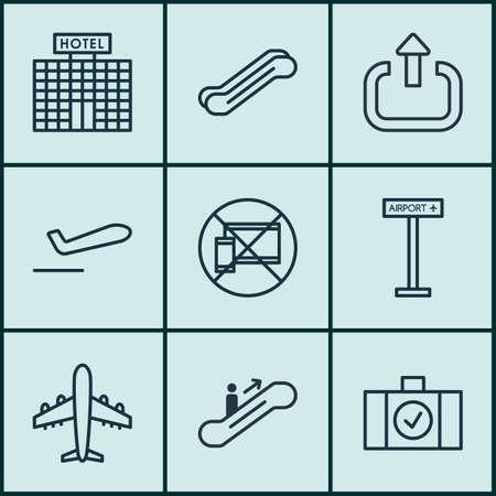 9 旅行のアイコンを設定します。出口、飛行機情報、リゾート開発、その他の記号が含まれています。美しいデザイン要素です。