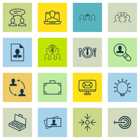 Set Of 16 Business Management Icons. Includes Cooperation, Cv, Calling Card And Other Symbols. Beautiful Design Elements. Çizim