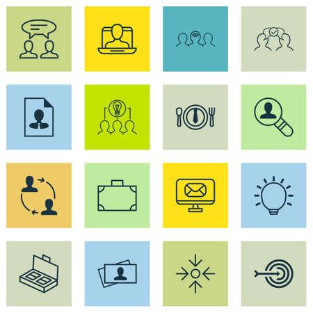 Set van 16 pictogrammen voor bedrijfsbeheer. Inclusief samenwerking, Cv, telefoonkaart en andere symbolen. Mooie designelementen. Stock Illustratie