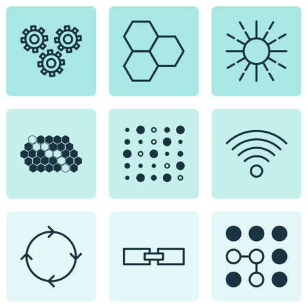 brightness: Set Of 9 Robotics Icons. Includes Variable Architecture, Information Components, Mechanism Parts And Other Symbols. Beautiful Design Elements.