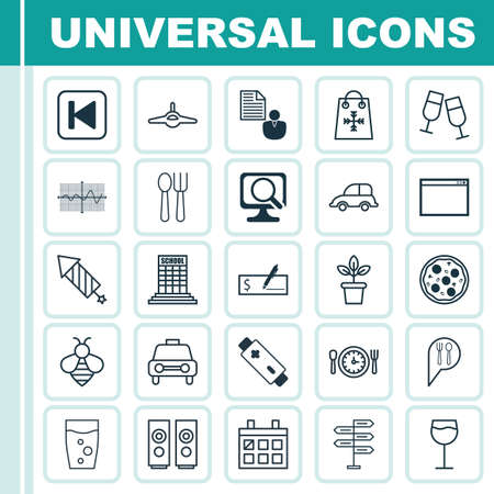Set Of 25 Universal Editable Icons. Can Be Used For Web, Mobile And App Design. Includes Elements Such As Bank Payment, Crooked Graph, Meal Hour And More.