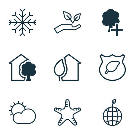 seastar: Set Of 9 Eco Icons. Includes Guard Tree, World Ecology, Home And Other Symbols. Beautiful Design Elements.