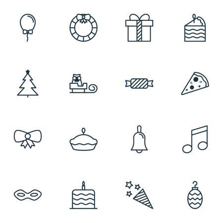 squib: Set Of 16 Celebration Icons. Includes Firecracker, Sweet, Handbell Symbols. Beautiful Design Elements.