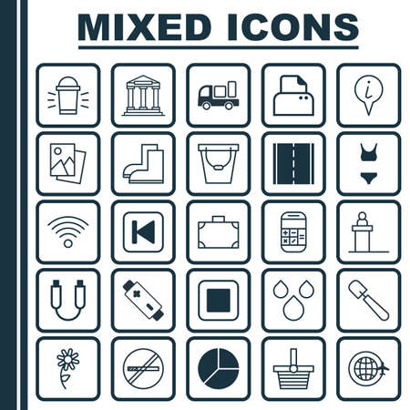 Set Of 25 Universal Editable Icons. Can Be Used For Web, Mobile And App Design. Includes Elements Such As Info Pointer, Portfolio, Delivery And More.
