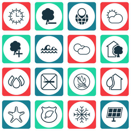 seastar: Set Of 16 Eco-Friendly Icons. Includes Guard Tree, House, Sea Star And Other Symbols. Beautiful Design Elements.