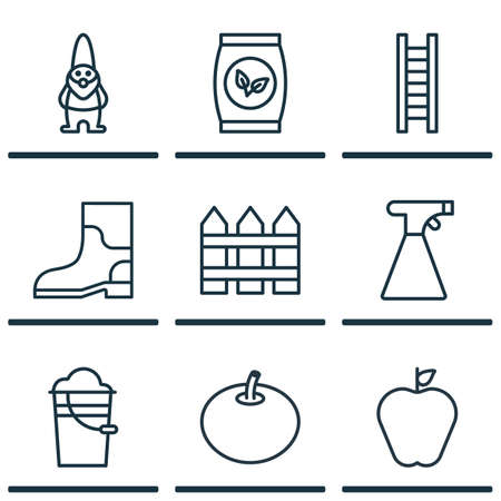 Set Of 9 Plant Icons. Includes Dwarf, Taste Apple, Stairway And Other Symbols. Beautiful Design Elements. Illustration
