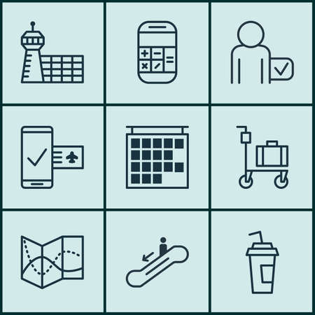 Set Of 9 Airport Icons. Includes Drink Cup, Departure Information, Globetrotter And Other Symbols. Beautiful Design Elements.
