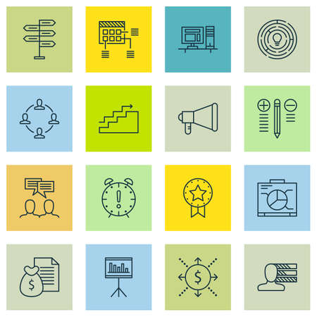Set Of 16 Project Management Icons. Includes Announcement, Report, Decision Making And Other Symbols. Beautiful Design Elements.