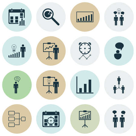 Set Of 16 Management Icons. Includes Solution Demonstration, Group Organization, Planning And Other Symbols. Beautiful Design Elements. Illustration