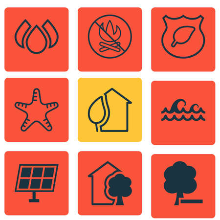 seastar: Set Of 9 Eco-Friendly Icons. Includes Sun Power, Home, Delete Woods And Other Symbols. Beautiful Design Elements.