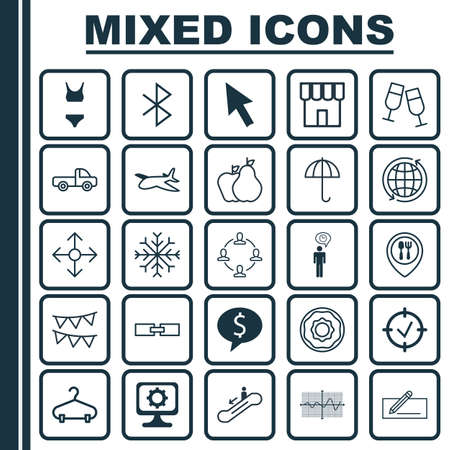 Set Of 25 Universal Editable Icons. Can Be Used For Web, Mobile And App Design. Includes Elements Such As Related Information, Fruits, Road Pointer And More. Illusztráció