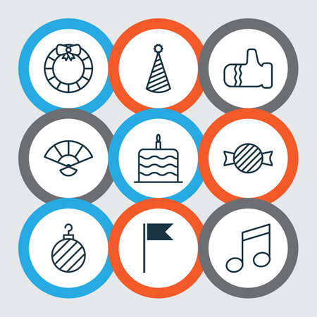 Set Of 9 New Year Icons. Includes Christmas Ball, Celebration Cake, Toffee Candy Symbols. Beautiful Design Elements.