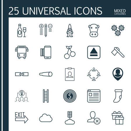 25 ユニバーサル編集可能なアイコンのセットです。Web、モバイル、アプリの設計に使用できます。Id カード、現在、関連情報などの要素が含まれて