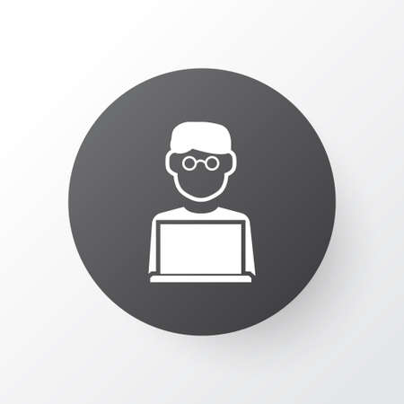 looking at computer screen: Man With Laptop Icon Symbol. Premium Quality Isolated Programmer Element In Trendy Style.