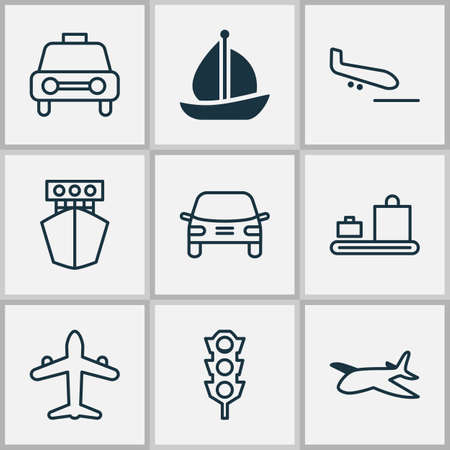 haul: Shipping Icons Set. Collection Of Taxi, Stoplight, Sailboat And Other Elements. Also Includes Symbols Such As Lights, Automobile, Airplane. Illustration