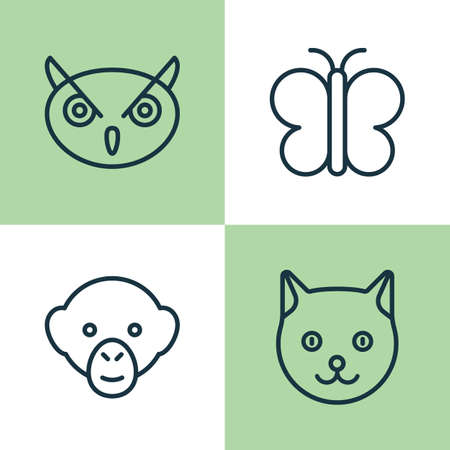 primate biology: Zoo Icons Set. Collection Of Moth, Baboon, Kitten And Other Elements. Also Includes Symbols Such As Monkey, Chimpanzee, Owl. Illustration