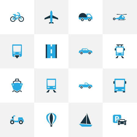 velocipede: Transportation Colorful Icons Set. Collection Of Monorail, Auto, Caravan And Other Elements. Also Includes Symbols Such As Cabriolet, Carriage, Omnibus.