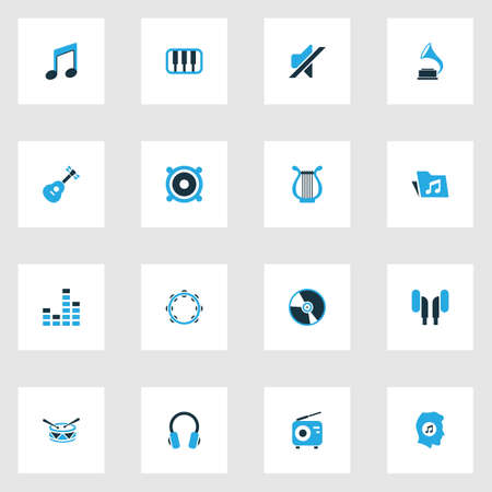 Music Colorful Icons Set. Collection Of Radio, Mute, Mixer And Other Elements. Also Includes Symbols Such As Keyboard, Harp, Turntable. Illustration