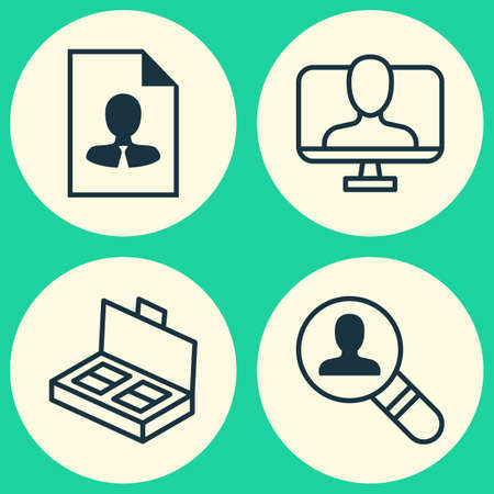 haversack: Business Icons Set. Collection Of Document Suitcase, Open Vacancy, Online Identity And Other Elements. Also Includes Symbols Such As Business, Employee, Document. Illustration