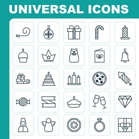 Glückliche Ikonen eingestellt. Sammlung von Toboggan, Geschenkbeutel, Schnee Person und andere Elemente. Enthält auch Symbole wie Handbell, Mahlzeit, Feiern.