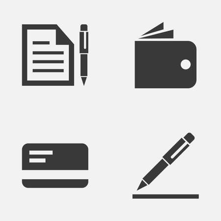 nib: Job Icons Set. Collection Of Contract, Billfold, Pen And Other Elements. Also Includes Symbols Such As Wallet, Payment, Card. Illustration