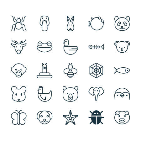Nature Icons Set. Collection Of Rat, Baboon, Moth And Other Elements. Also Includes Symbols Such As Frog, Marsupial, Globefish. Illustration