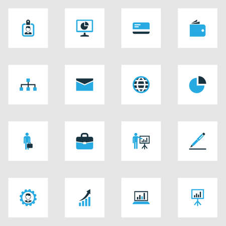 diplomat: Business Colorful Icons Set. Collection Of Portfolio, Bank Card, Mail And Other Elements. Also Includes Symbols Such As Card, Worker, Board.