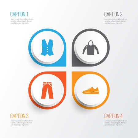 Set di icone di abiti. Collezione di gilet, scarpe da ginnastica, felpa e altri elementi. Include anche simboli come leggings, Felpa, Felpa con cappuccio. Archivio Fotografico - 81522085