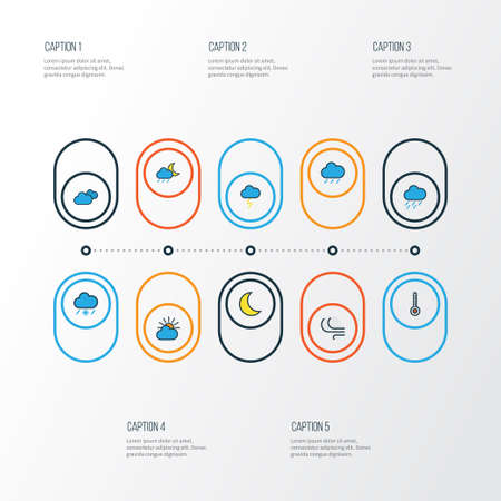 Air colorful outline icons set. Illustration
