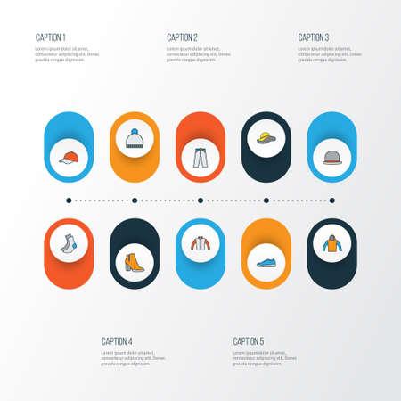 trouser: Clothes colorful outline icons set. Illustration