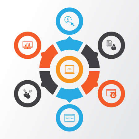 SEO Icons Set. Collection Of Digital Media, PPC, Security And Other Elements. Also Includes Symbols Such As Website, Browser, Analytics. Illustration