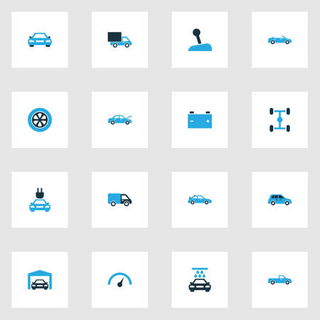 Car Colorful Icons Set. Collection Of Car, Electric Car, Battery And Other Elements. Also Includes Symbols Such As Car, Speedometer, Gear. 向量圖像