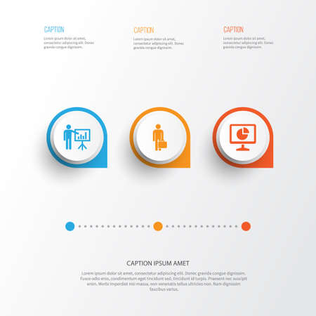Business Icons Set. Collection Of Statistics, Presenting Man, Work Man And Other Elements. Also Includes Symbols Such As Presentation, Business, Man. Illustration