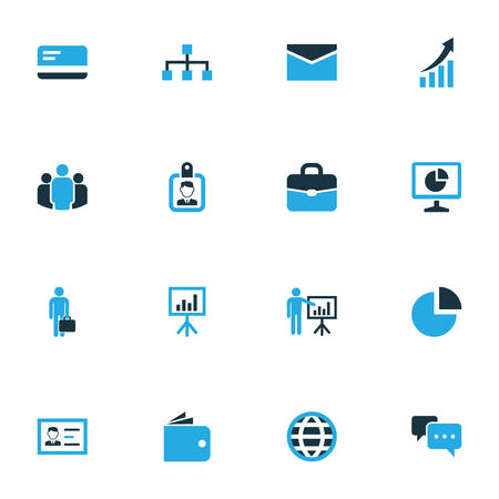 sheath: Business Colorful Icons Set. Collection Of Badge, Globe, Statistics And Other Elements. Also Includes Symbols Such As Suitcase, Access, Employee. Illustration