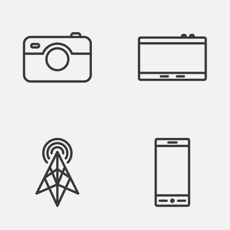 photographing: Device Icons Set. Collection Of Wireless Router, Telephone, Photographing And Other Elements. Also Includes Symbols Such As Tablet, Telephone, Camera. Illustration