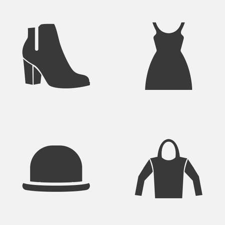 sleeveless hoodie: Clothes Icons Set. Collection Of Female Winter Shoes, Dress, Panama And Other Elements. Also Includes Symbols Such As Wear, Sundress, Boots.