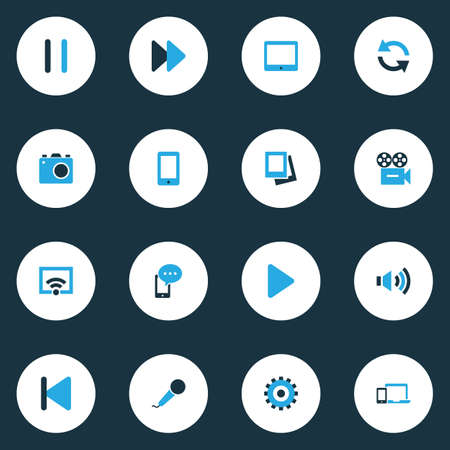 retry: Media Colorful Icons Set. Collection Of Palmtop, Signal, Begin And Other Elements. Also Includes Symbols Such As Rewind, Album, Devices. Illustration