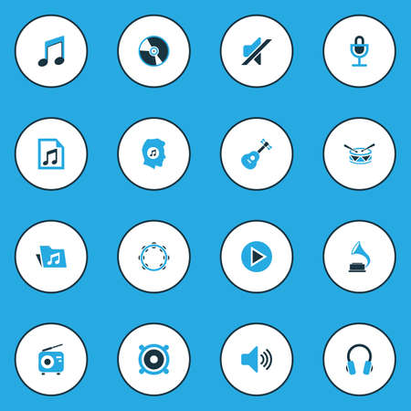 Audio Colorful Icons Set. Collection Of Playlist, Microphone, Headset And Other Elements. Also Includes Symbols Such As Sound, Barrel, Music.