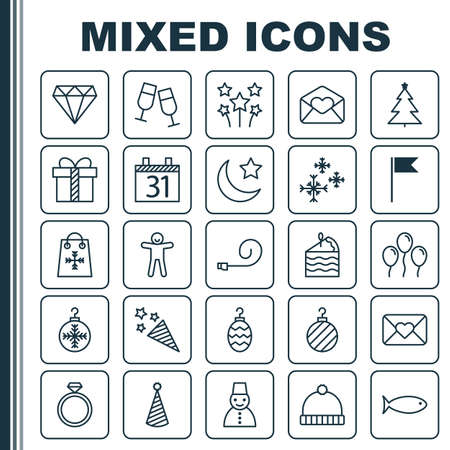 Year Icons Set. Collection Of Tree Toy, Champagne Glasses, Gift And Other Elements. Also Includes Symbols Such As Ginger, Crescent, Food.