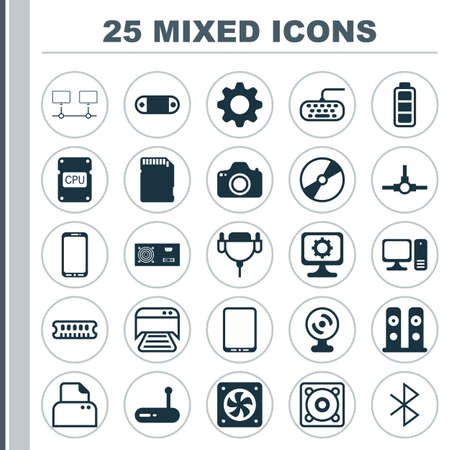 Hardware Icons Set. Collection Of Connected Devices, PC, Computer Keypad And Other Elements. Also Includes Symbols Such As Tablet, Sd, Accumulator.