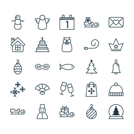 pouch: Holiday Icons Set. Collection Of Present Pouch, Celebrate Whistle, Dessert And Other Elements. Also Includes Symbols Such As Estate, House, Star.