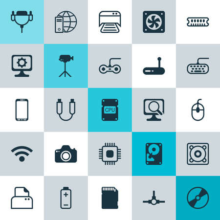 gamepad: Hardware Icons Set. Collection Of Wireless, Printed Document, Joystick And Other Elements. Also Includes Symbols Such As Dvd, Vga, Mobile. Illustration