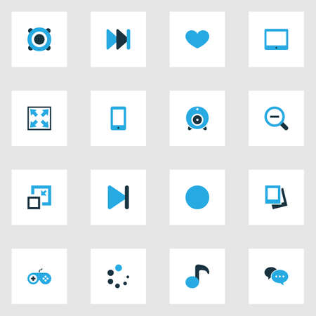 gamepad: Music Colorful Icons Set. Collection Of Decrease, Magnifying, Gamepad And Other Elements. Also Includes Symbols Such As Joystick, Gamepad, Lover. Illustration