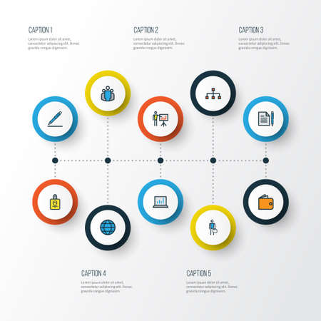 Business Colorful Outline Icons Set. Collection Of Team, Computer Analytics, Purse And Other Elements. Also Includes Symbols Such As Badge, Identification, Agreement. 向量圖像