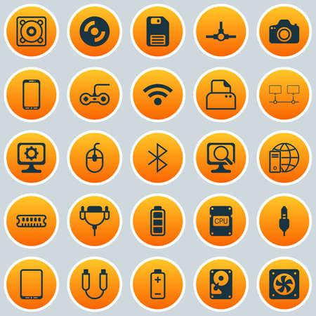 Set di icone del computer. Raccolta di cavo ausiliario, batteria, dispositivi collegati e altri elementi. Include anche simboli come foto, distribuzione, energia. Archivio Fotografico - 81598869