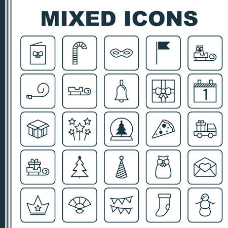 New Icons Set. Collection Of Winter, Celebrate Whistle, Gift Surprise And Other Elements. Also Includes Symbols Such As Candy, Sleigh, Flags.